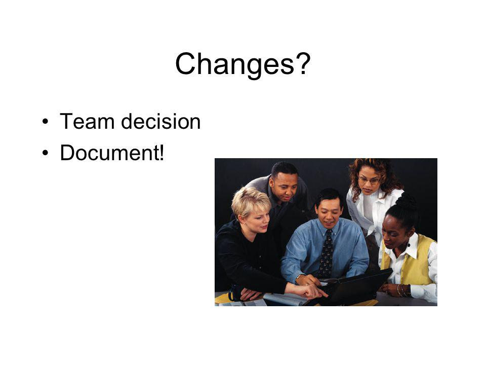 Changes Team decision Document!