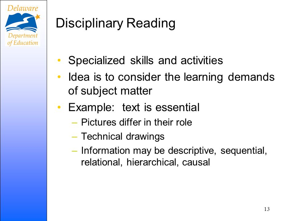 Disciplinary Reading Specialized skills and activities