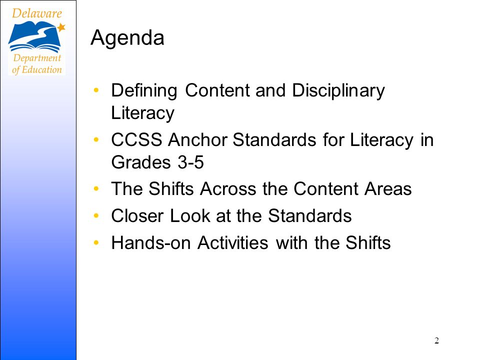 Agenda Defining Content and Disciplinary Literacy