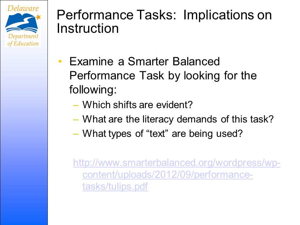 Performance Tasks: Implications on Instruction