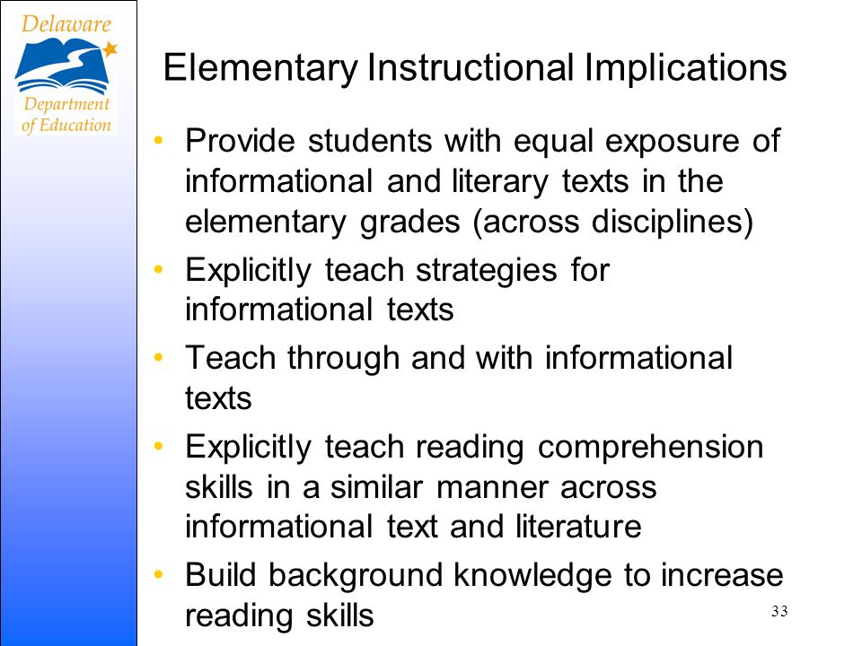 Elementary Instructional Implications