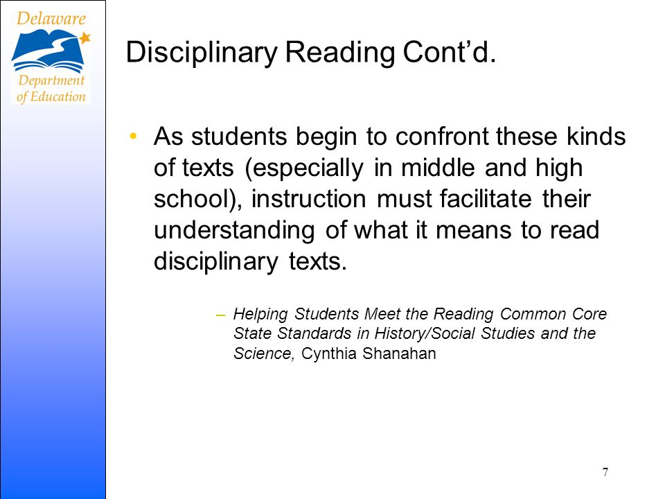 Disciplinary Reading Cont'd.