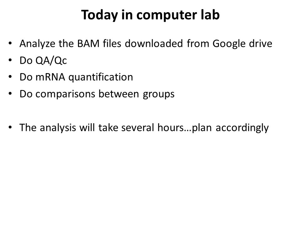 Today in computer lab Analyze the BAM files downloaded from Google drive. Do QA/Qc. Do mRNA quantification.