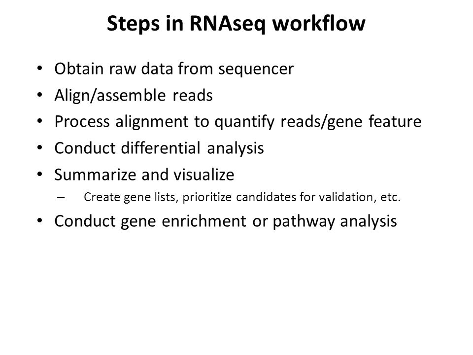 Steps in RNAseq workflow
