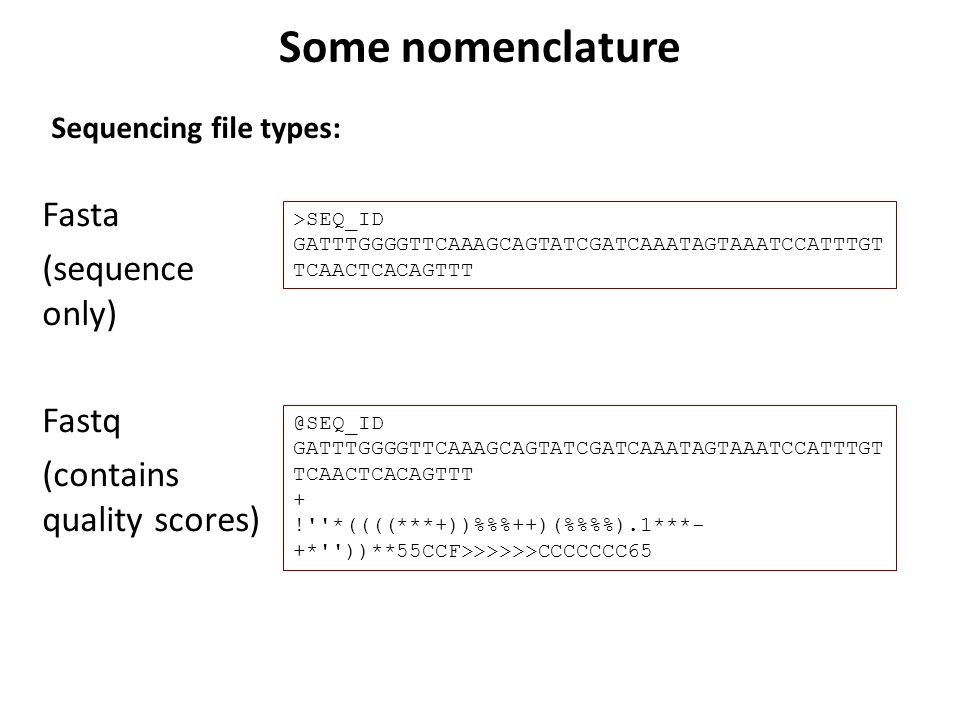 Some nomenclature Sequencing file types: Fasta (sequence only) Fastq (contains quality scores) >SEQ_ID.