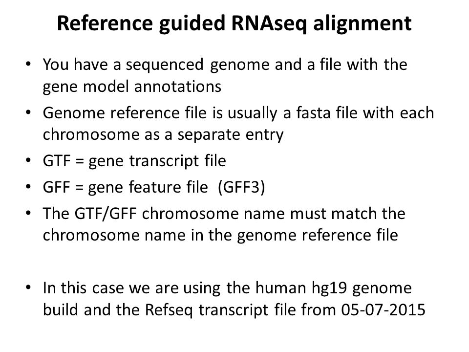 Reference guided RNAseq alignment