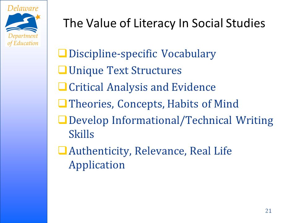 The Value of Literacy In Social Studies
