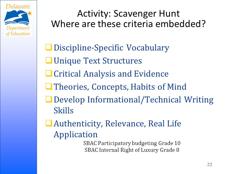 Activity: Scavenger Hunt Where are these criteria embedded