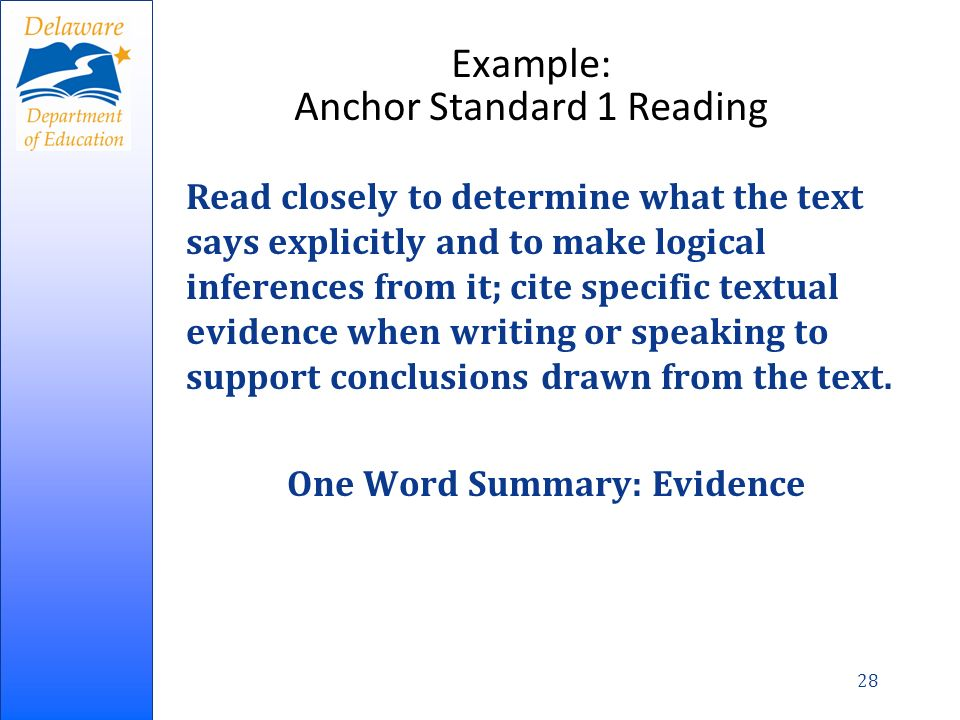 Example: Anchor Standard 1 Reading