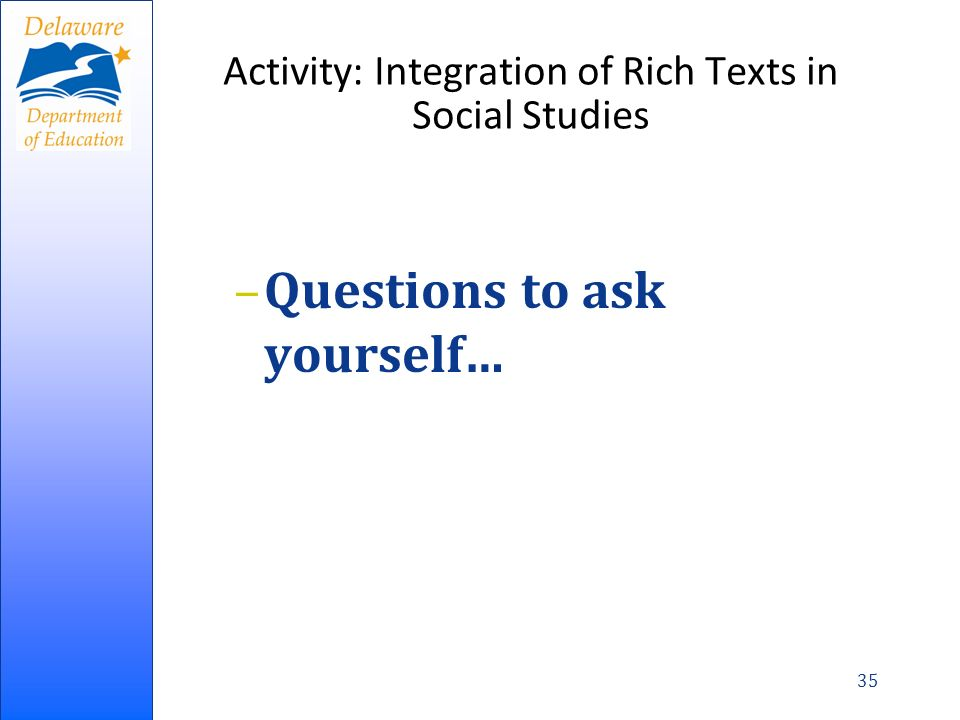 Activity: Integration of Rich Texts in Social Studies