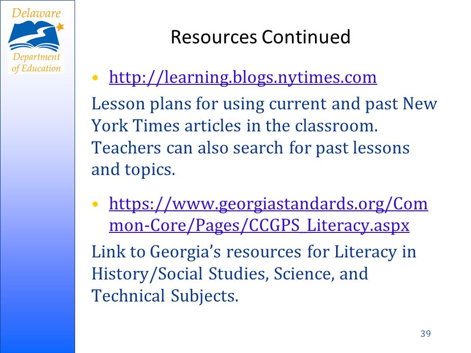 Resources Continued http://learning.blogs.nytimes.com