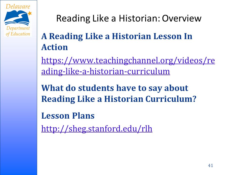 Reading Like a Historian: Overview