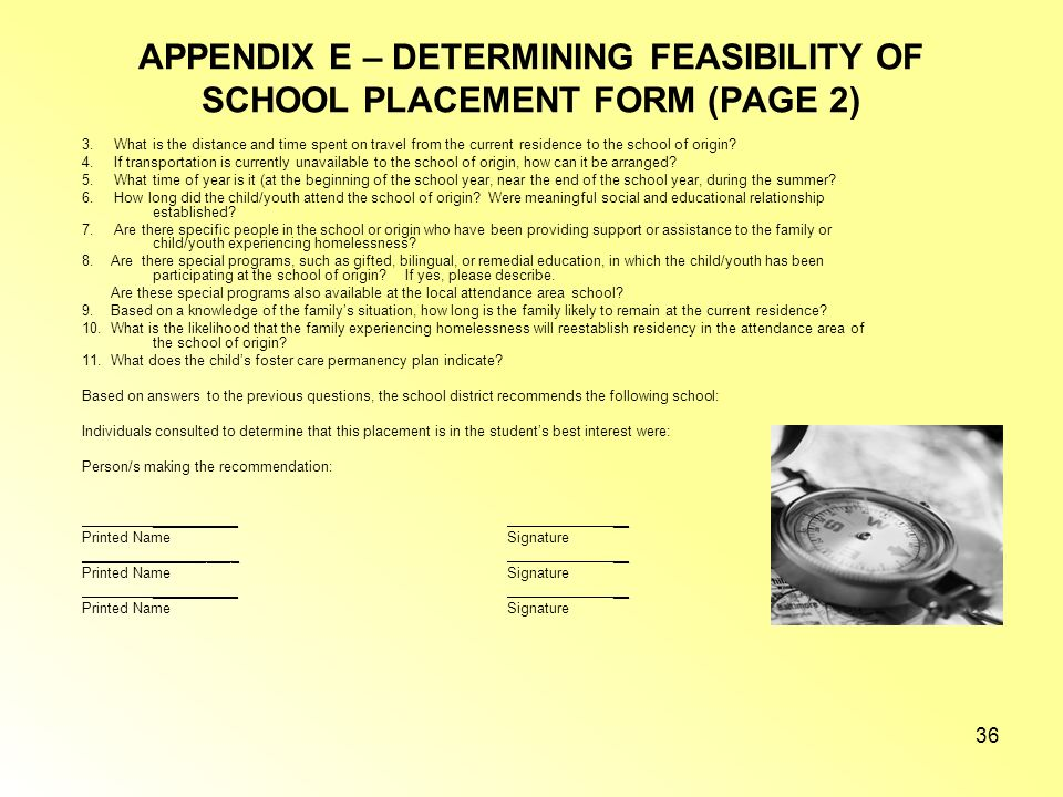 APPENDIX E – DETERMINING FEASIBILITY OF SCHOOL PLACEMENT FORM (PAGE 2)