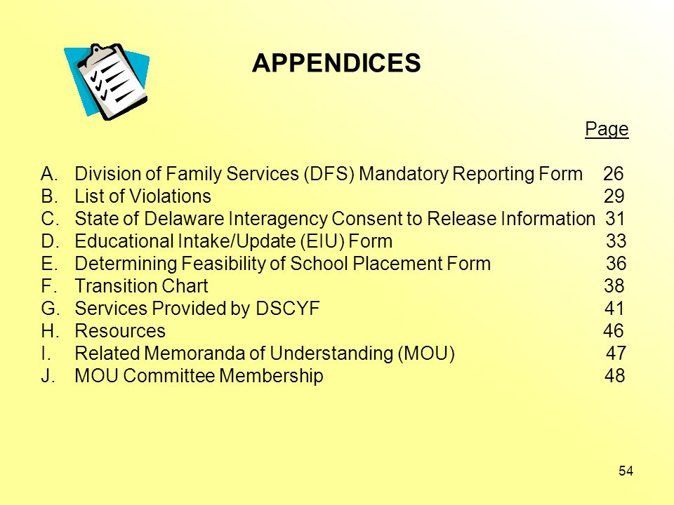 APPENDICES Page. Division of Family Services (DFS) Mandatory Reporting Form 26.