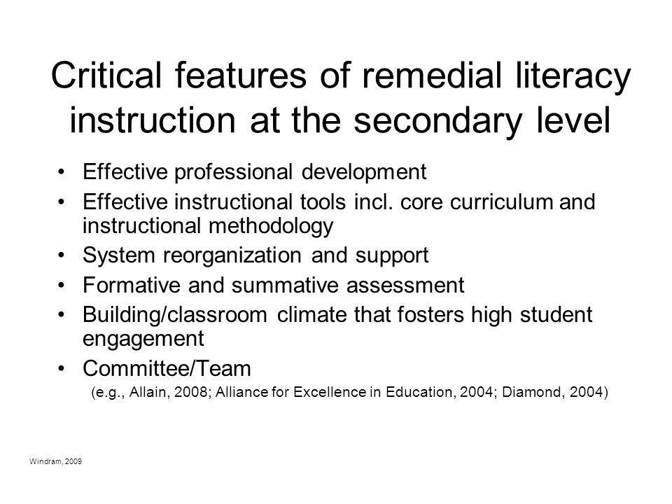 Critical features of remedial literacy instruction at the secondary level