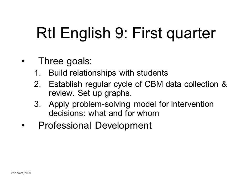 RtI English 9: First quarter