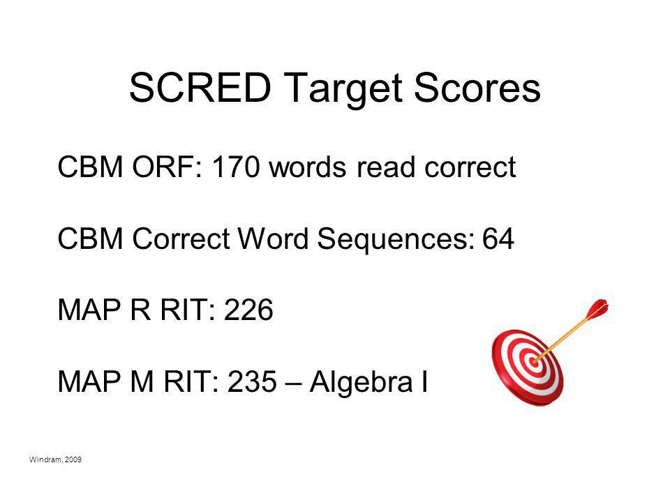 SCRED Target Scores CBM ORF: 170 words read correct