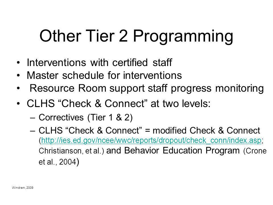 Other Tier 2 Programming