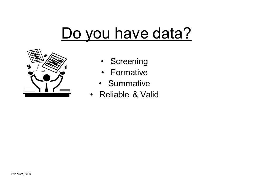 Do you have data Screening Formative Summative Reliable & Valid