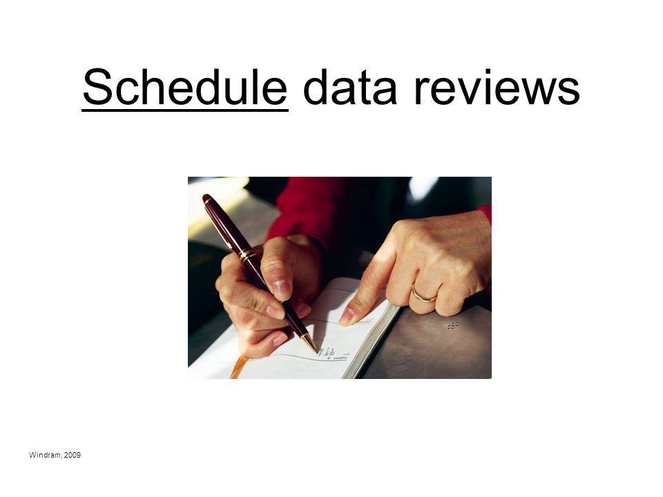 Schedule data reviews Windram, 2009