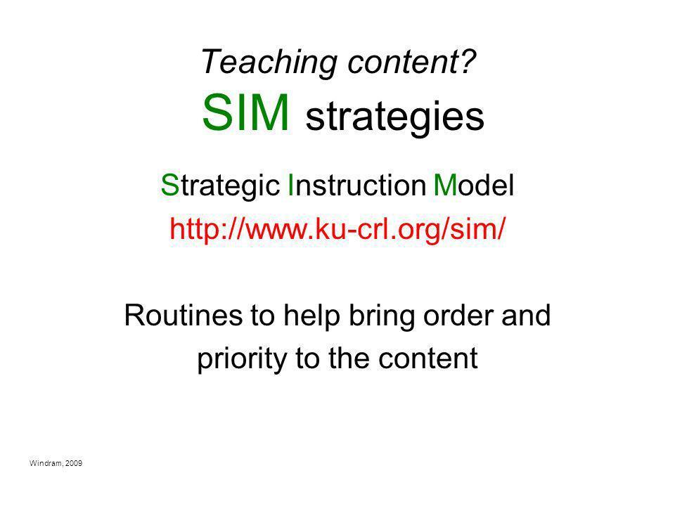 Teaching content SIM strategies