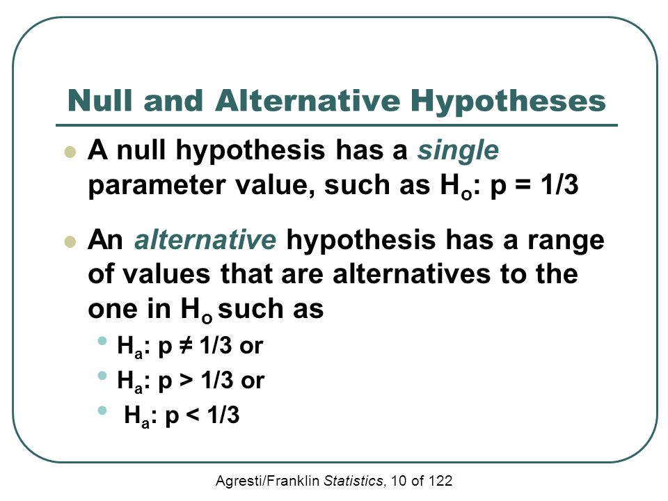null and alternative hypotheses Null until proven alternative basically what i'd like to know is where we have 2 alternative hypotheses, what justifies one being the null hypothesis.