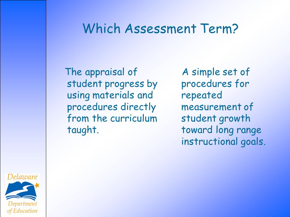Which Assessment Term The appraisal of student progress by using materials and procedures directly from the curriculum taught.
