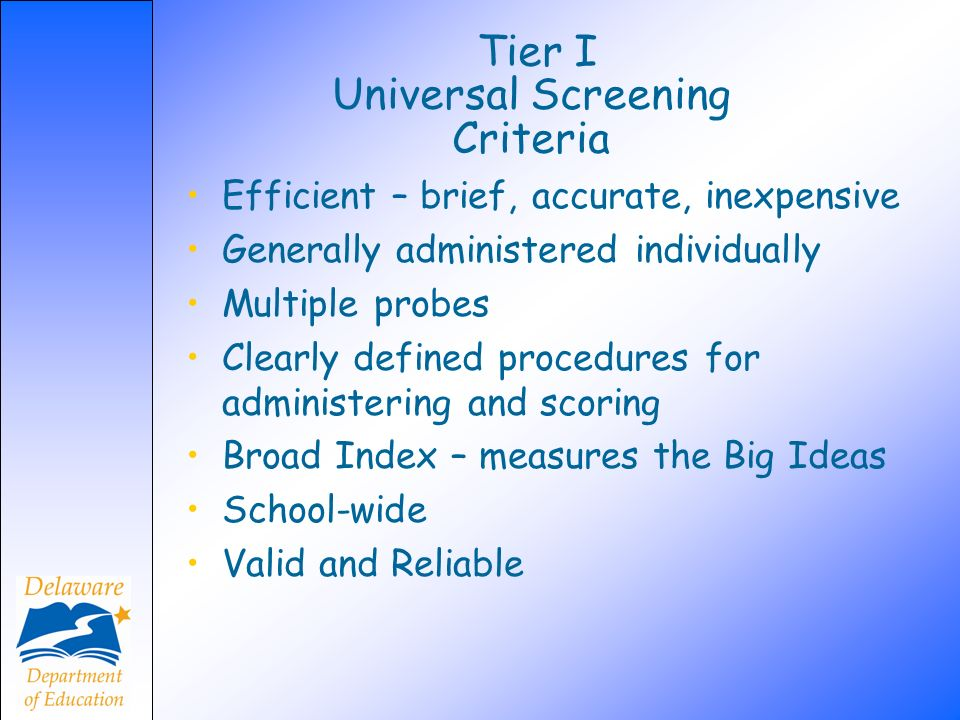 Tier I Universal Screening Criteria