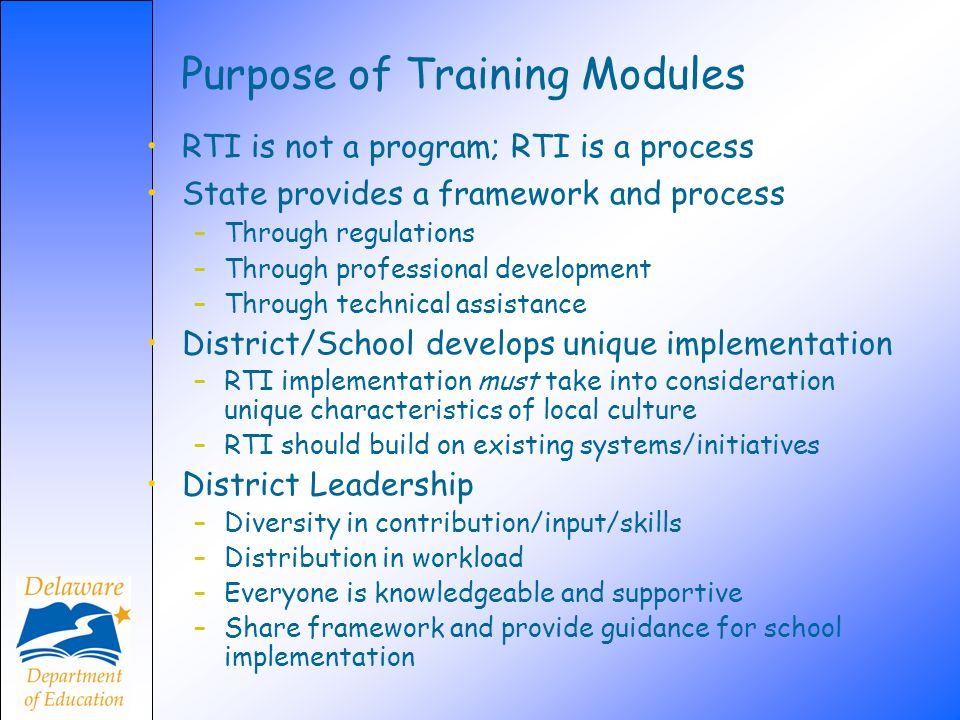Purpose of Training Modules