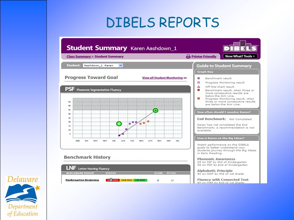 DIBELS REPORTS The Student Summary report displays Karen's performance on benchmark.