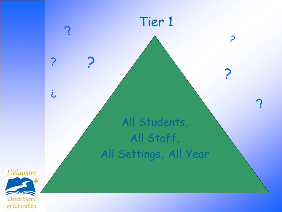 Tier 1 All Students, All Staff, All Settings, All Year