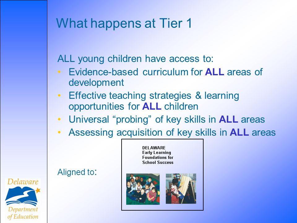 What happens at Tier 1 ALL young children have access to: