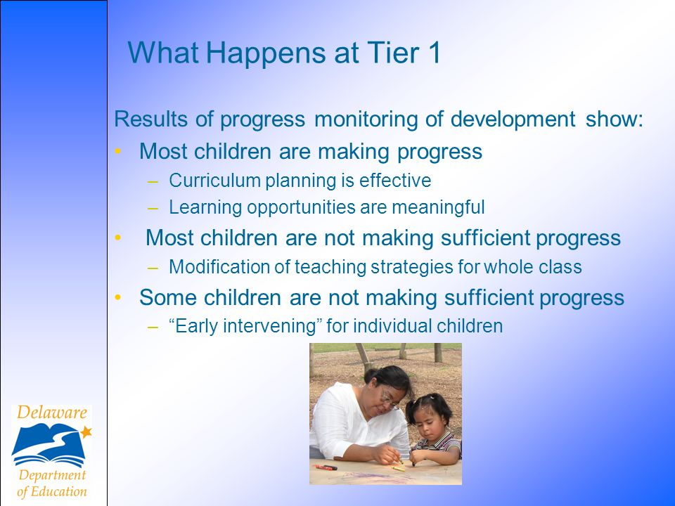 What Happens at Tier 1 Results of progress monitoring of development show: Most children are making progress.