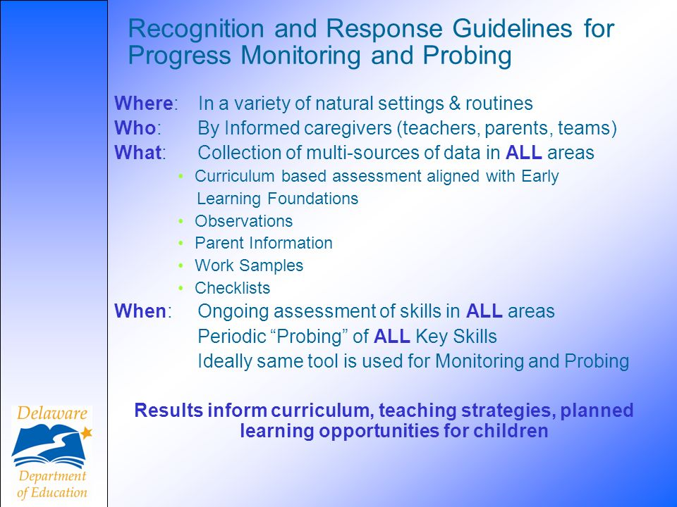 Recognition and Response Guidelines for Progress Monitoring and Probing