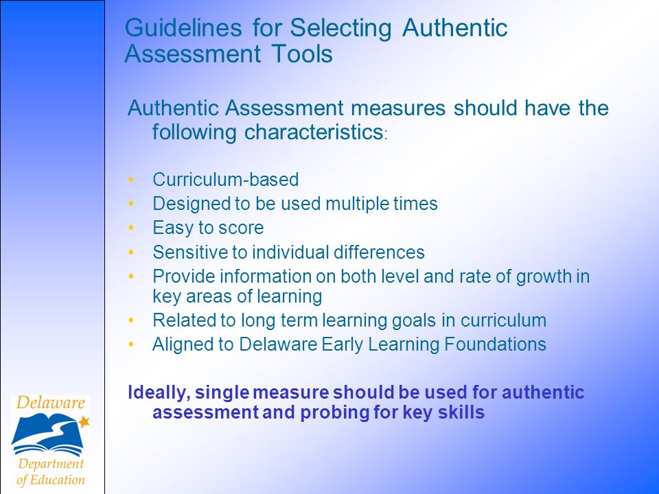 Guidelines for Selecting Authentic Assessment Tools