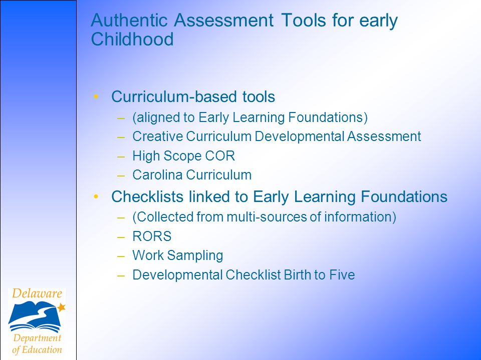 Authentic Assessment Tools for early Childhood