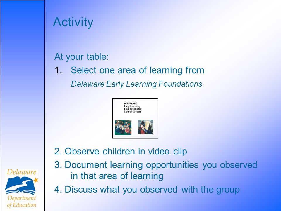 Activity At your table: Select one area of learning from