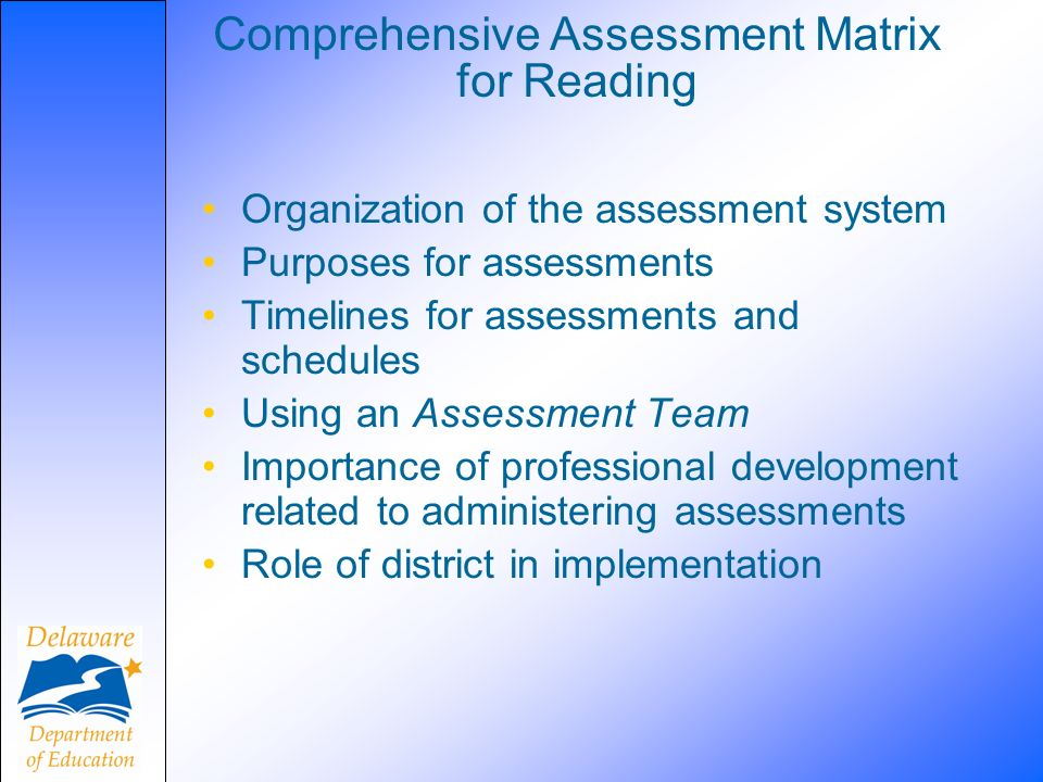 Comprehensive Assessment Matrix for Reading