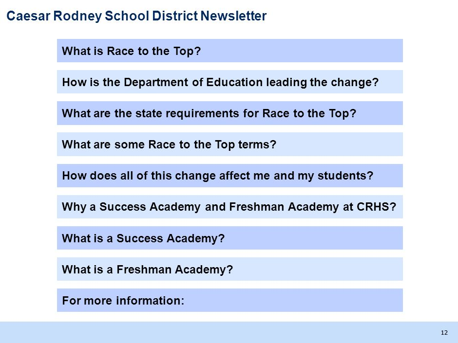 Caesar Rodney School District Newsletter