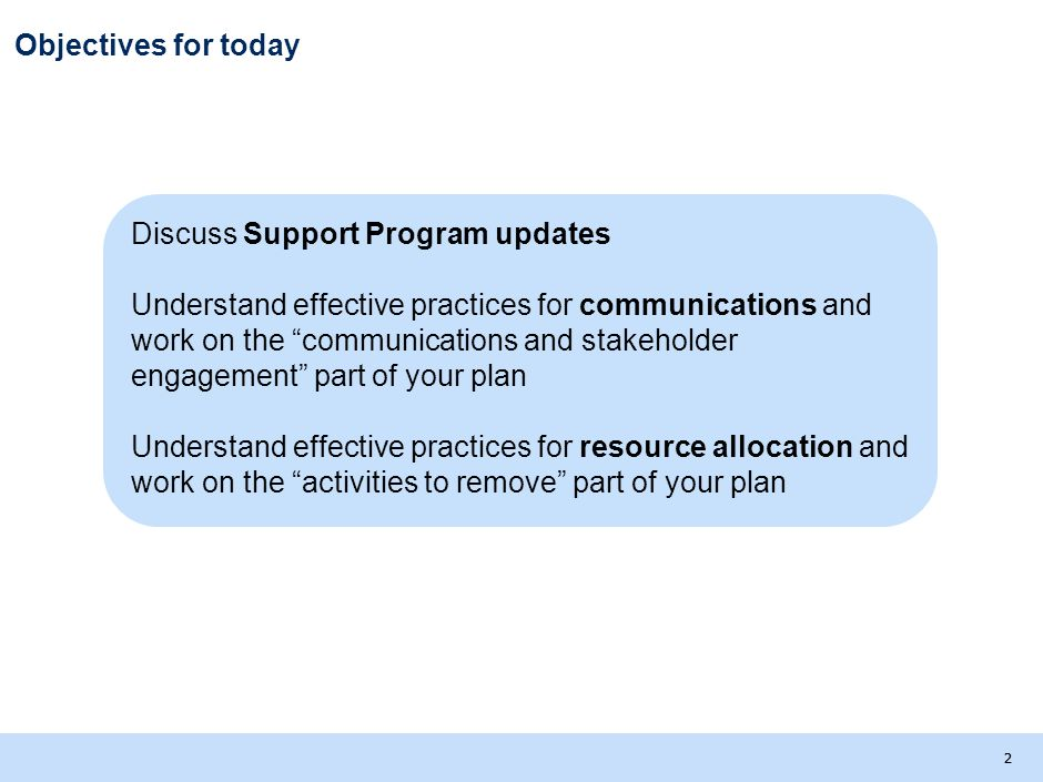 Objectives for today Discuss Support Program updates.