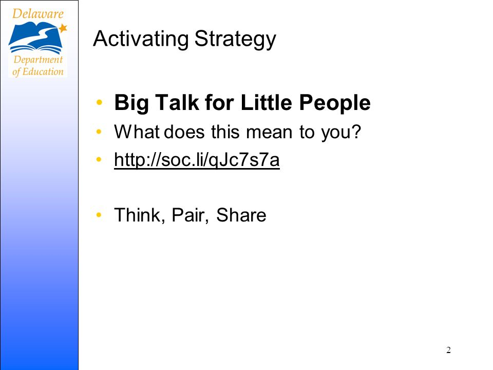 Big Talk for Little People