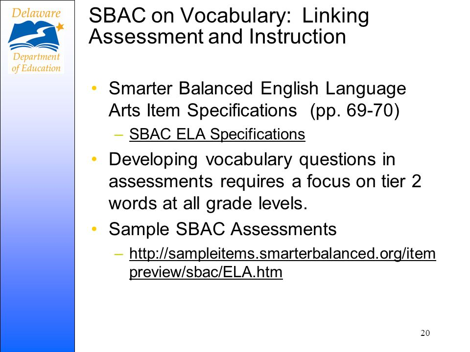 SBAC on Vocabulary: Linking Assessment and Instruction