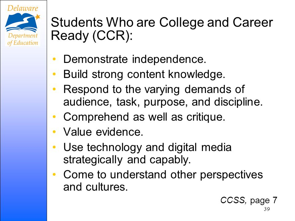 Students Who are College and Career Ready (CCR):