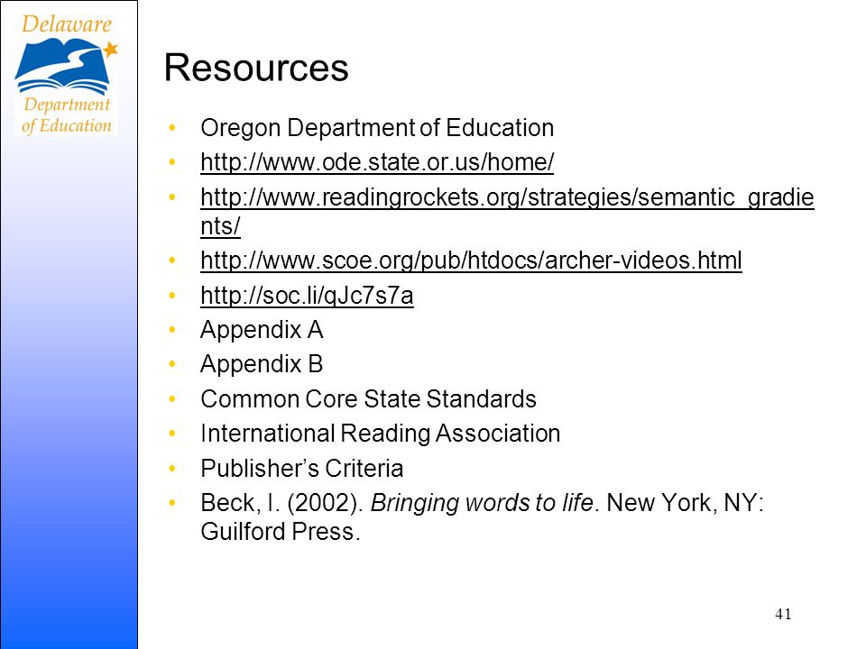 Resources Oregon Department of Education