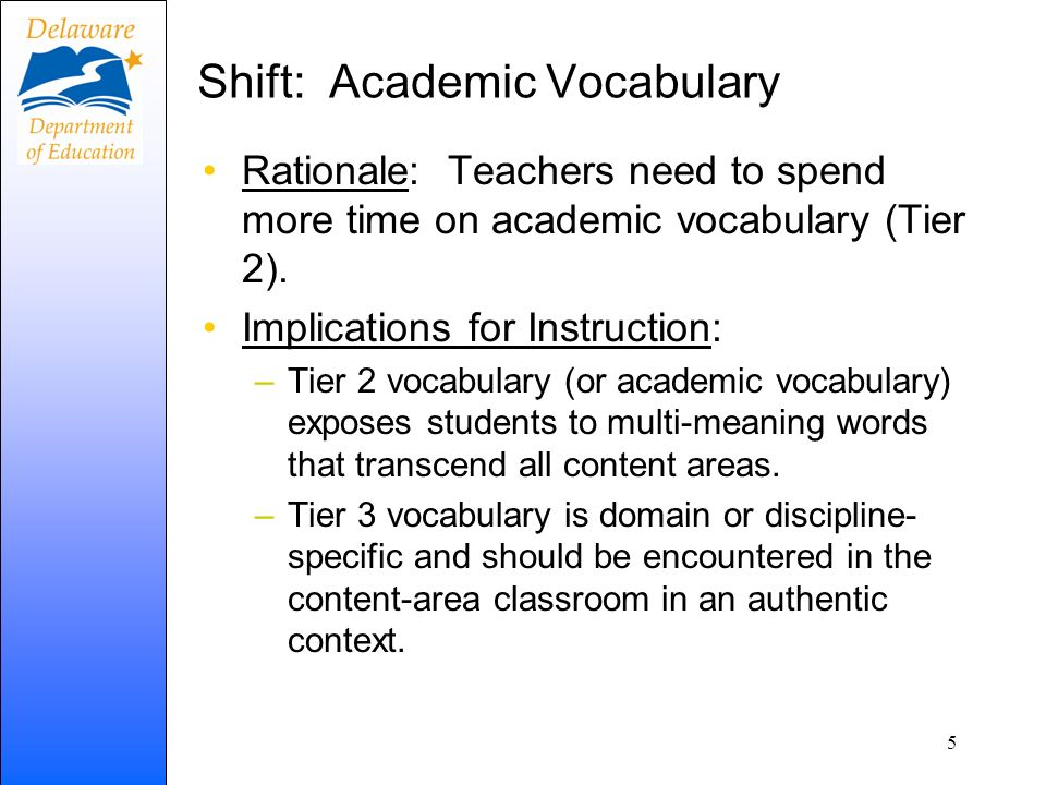 Shift: Academic Vocabulary