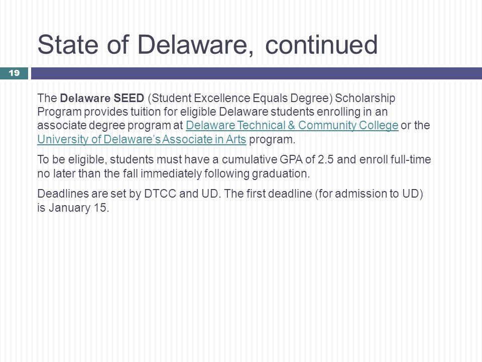 State of Delaware, continued