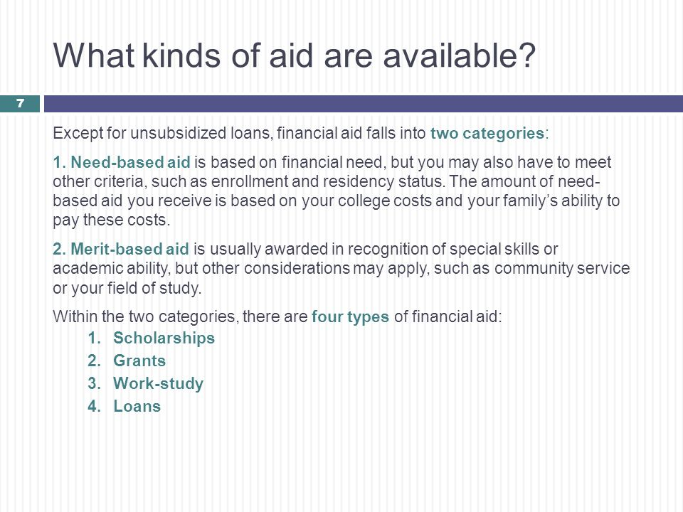 What kinds of aid are available