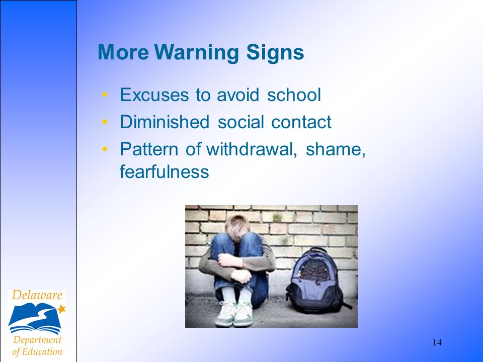 More Warning Signs Excuses to avoid school Diminished social contact
