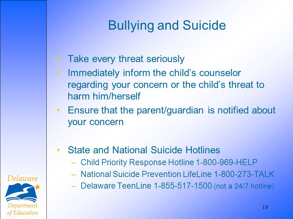 Bullying and Suicide Take every threat seriously