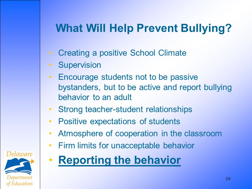What Will Help Prevent Bullying